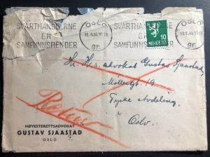 1944 Oslo Norway Germany Cover To Norwegian Lawyer Held By Germans Locally Used