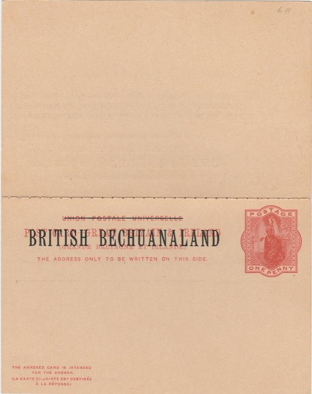 BRITISH BECHUANALAND 1893 QV DOUBLE REPLY POSTCARD
