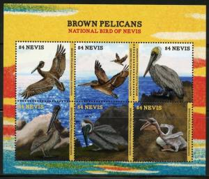 NEVIS   2017  BROWN PELICANS  SHEET MINT NH