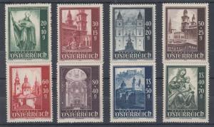 Austria Sc B252-B259 MLH. 1948 Salzburg Cathedral cplt, VF