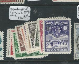 TURKS AND CAICOS  (P2007B) KGVI SG 1ST COLORS  MOG