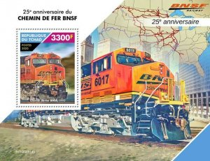 Chad Trains Stamps 2020 MNH BNSF Santa Fe Railway Railways Rail 1v S/S