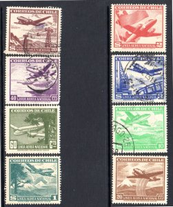 CHILE C155-C160, C163-C164 MH USED SCV $2.20 BIN $1.30 AIRPLANES