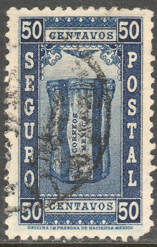 MEXICO G2, 50cents INSURED LETTER. USED. VF. (929)