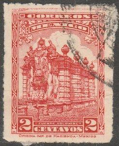 MEXICO 634, 2¢ PUBLIC FOUNTAIN Unwmk USED  F-VF. (384)