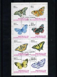 Equatorial Guinea 1976 Butterflies Sheet Perforated CTO Used