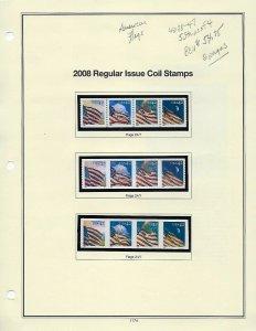 4228-4247 42cent AMERICAN FLAG MINT COILS ON ALBUM PAGES BCV $54.75 - W19