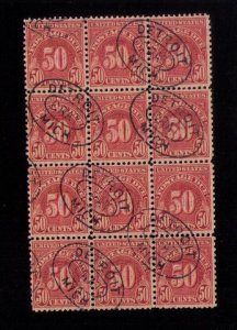 US Sc J86 Used Zip Block Of (12) Twelve  F-VF Many Detroit Grat Oval Cancels
