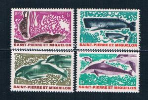St Pierre and Miquelon 389-92 MNH set Marine Life 1969 (S0953)