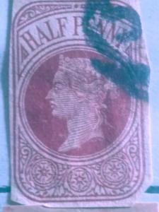 Great Britain Half Penny Postal Stationary Corner Used XF
