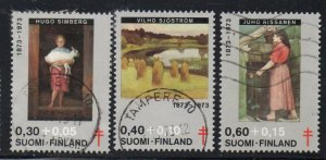 Finland Sc B197-99 1973 TB Paintings charity stamp set used