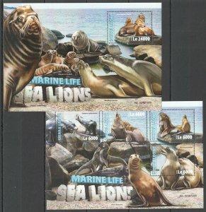 ST314 2016 SIERRA LEONE ANIMALS FAUNA MARINE LIFE SEA LIONS KB+BL MNH STAMPS