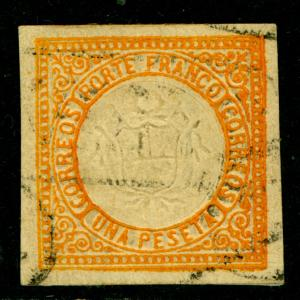 PERU  1872  Coat of Arms  1p  orange  Scott # 15 used  VF