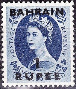 BAHRAIN 1953 QEII 1 Rupee on 1s3d Grey-Blue SG86 MNH