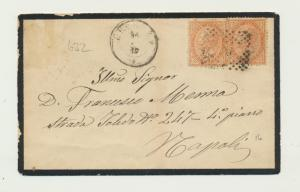 ITALY 1864? MOURNING COVER TO NAPOLI, 2x20c RATED (SEE BELOW)