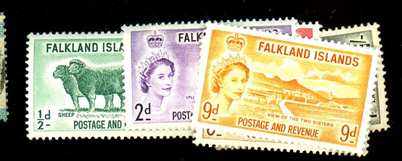Falkland Islands #122-7 MINT F-VF OG NH Cat$33