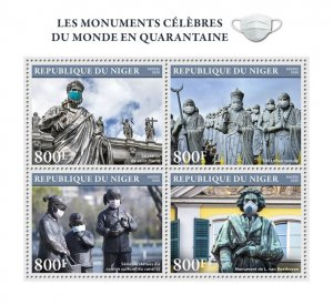 NIGER - 2020 -Famous Monuments Against COVID-19-Perf 4v Sheet- Mint Never Hinged