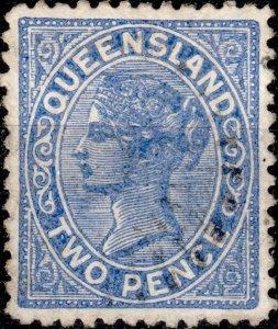 AUSTRALIA / QUEENSLAND 1887 - SG180 2d blue p.12 - Very Fine Used