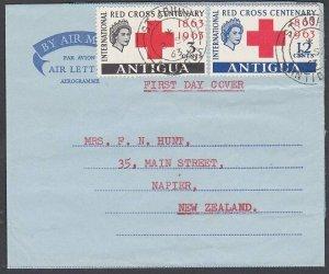 ANTIGUA 1963 Red Cross set used on formular aerogramme to New Zealand.......K128