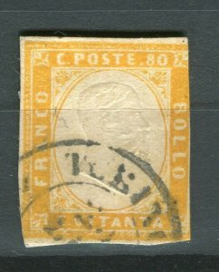ITALY; SARDINIA 1855 early classic Imperf issue fine used SHADE of 80c. value