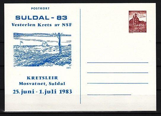 Norway, 1983 issue. Suldal 83 Scout Cachet on a Postal Card.