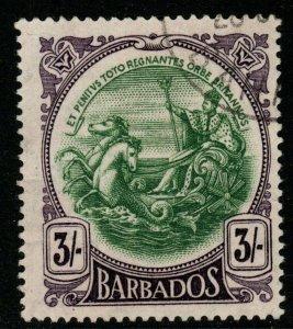 BARBADOS SG200a 1920 3/= GREEN & BRIGHT VIOLET FINE USED