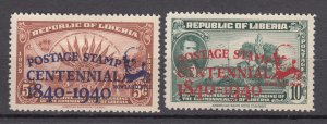J27503 1941 liberia hv,s of set mh #281-2 ovpt,s