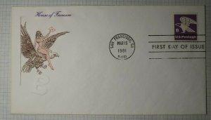 US FDC Sc# 1818 House of Farnan Brate HF Farnan San Francisco CA 1981
