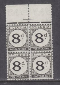 St. LUCIA, POSTAGE DUE, 1947 8d. Black, marginal block of 4, mnh.