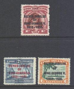 Cook Islands Scott 98/100 - SG113/115, 1935 Silver Jubilee Set MH*