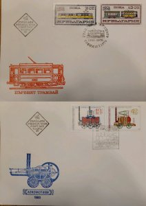 J) 1976 BULGARIA, RAILWAY, MULTIPLE STAMPS, SET OF 2 FDC