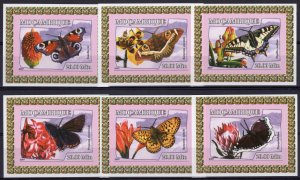 Mozambique 2007 Butterflies and Flowers 6 Souvenir Sheets Imperforated MNH