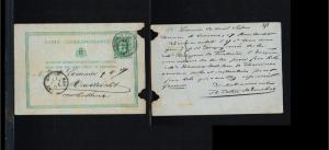 1877 - Belgium Postal stationary - From Louvain to Maestricht (NL) [B02_086]