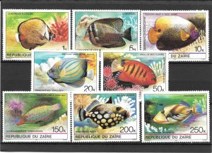 Zaire MNH 974-81 Tropical Fish 1980 SCV 7.15