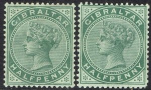 GIBRALTAR 1886  & 1898 QV 1/2D BOTH COLOURS
