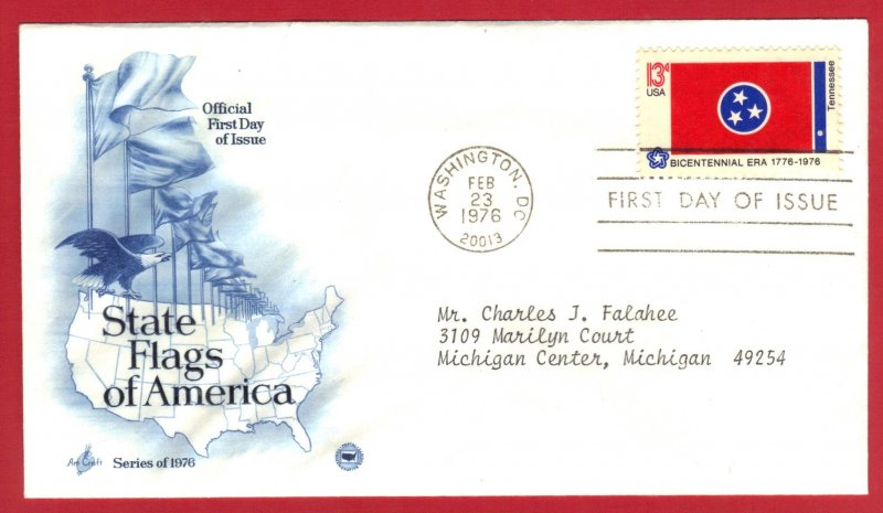 USA FDC ST FLAG TENNESSEE 1976 SERIES ARTCRAFT  SEE SCAN  (60)