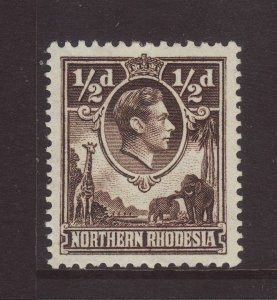 1952 Northern Rhodesia ½d Perf 12½ x 14 Mounted Mint SG26