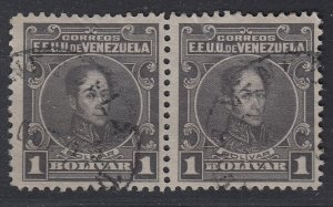 Venezuela 1915-23 1b Dark Gray Pair, perf 12. Used. Scott 268, SG 372