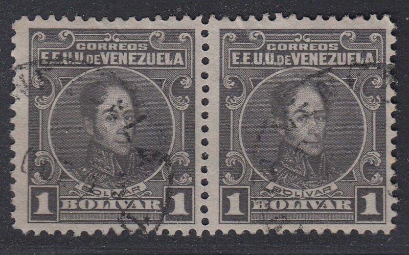 Venezuela 1915-23 1b Dark Gray Pair, perf 12. Used. Scott 268, SG 372