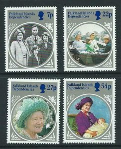 FALKLAND IS.DEP. SG129/32 1985 LIFE & TIMES OF THE QUEEN MOTHER MNH