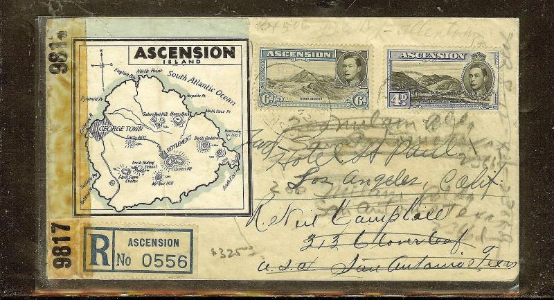 ASCENSION (P0210B) KGVI 6D+4D REGISTER CENSORED COVER TO USA FORWARDED