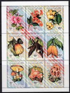 Comoro Islands 1994 Sc#811 Mushrooms/Fruits/Flowers Sheetlet (9) Perforated MNH