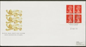 23/8/1988 76p NEW VALUE WINDOW BOOKLET FDC
