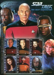 Palau 2008 MNH Star Trek Next Generation 6v M/S I Picard Worf Data Riker Stamps