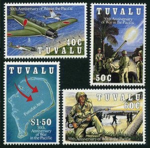 Tuvalu 633-636,MNH.Michel 654-657. WW II in the Pacific,50th Ann.1993.Scenes,map