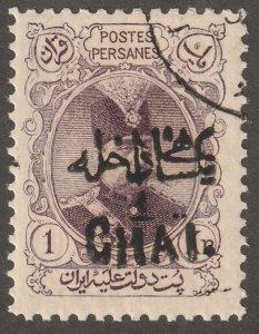 Persian stamp, Scott#405,  hinged, full gum, CTO, 1ch on 1kr, black,-