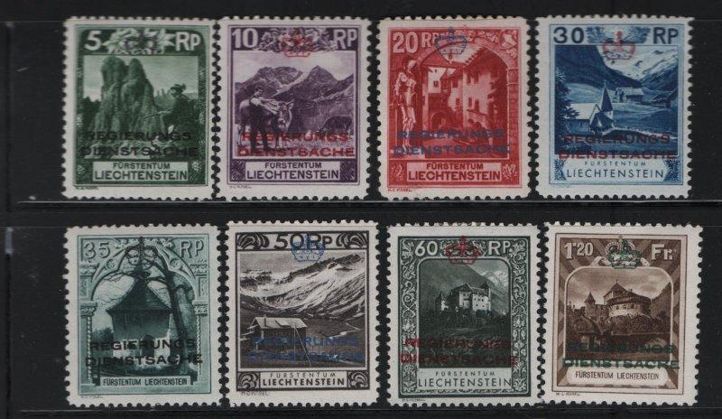 LIECHTENSTEIN O1-O8 (8) set, hinge Remnant, 1932 Regular Issue Overprinted