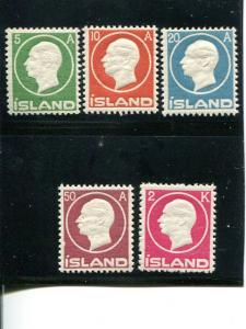 Iceland #92-95, 97 Mint VF NH
