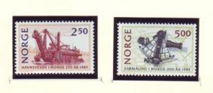 Norway Sc 869-70 1985 Ports & Navigation stamp set mint NH
