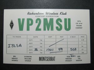 5700 Amateur Radio QSL Card Richardson Wireless Klub Expedition Montserrat